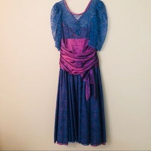 Vintage 80's Blue lace Purple satin prom dress